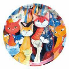 Bricka katter i massor av Pia Bergvall Lundén Orginella Orginal. Pris www. Lund, Plates, Tableware, Kitchen, Licence Plates, Dishes, Dinnerware, Cooking, Plate
