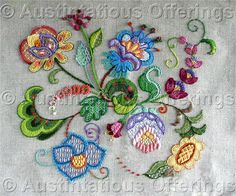 Barrani Jacobean Sampler Crewel Embroidery Kit Cambridge Floral Vintage Rare Needlework Kits - Contemporary Stitchery Crafts