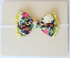Baby Bow Headband-navy floral and yellow green polka dot bow on white elastic. $10.00, via Etsy.