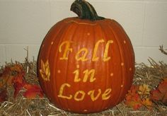 Fall in Love pumpkin decoration for wedding reception on 10-17-2009
