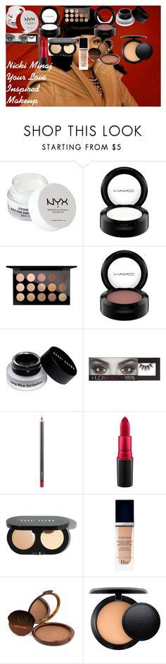 """Nicki Minaj Your Love Inspired Makeup"" by oroartye-1 on Polyvore featuring beauty, Nicki Minaj, NYX, MAC Cosmetics, Bobbi Brown Cosmetics, Huda Beauty and Christian Dior"