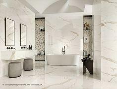 Bathroom Floor Tiles, Wall Tiles, Best Tiles For Kitchen, Small House Interior Design, Bathroom Gallery, Marvel, Black Cabinets, Marble Effect, Roof Design