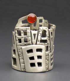 "Ring | Hadar Jacobson. ""Financial District"".  Fine silver (PMC), carnelian."