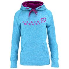 Feathery-soft like the hundredth time out of the dryer with a heathered look, our heartfelt hooded sweatshirt redefines comfort. Your new favorite hoodie features a paw of paw prints leading to the heart.