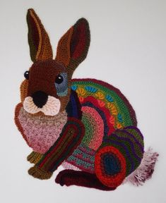 Crochet Amigurumi Rabbit Design Ann Benoot is a self-taught crochet artist from Belgium who makes freeform crocheted animals inspired by Ze. Crochet Wall Art, Crochet Wall Hangings, Knit Art, Crochet Diy, Crochet Bunny, Freeform Crochet, Crochet Beanie, Love Crochet, Crochet Animals