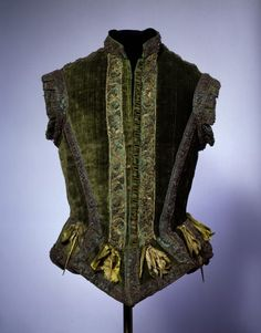 Doublet Date: ca. 1580 Culture: European Medium: silk, metallic thread, brass Dimensions: Length at CB: 22 in. cm) Credit Line: Catherine Breyer Van Bomel Foundation Fund, 1978 Accession Number: This artwork is not on display Renaissance Mode, Renaissance Clothing, Renaissance Fashion, Antique Clothing, Italian Renaissance, 16th Century Clothing, 16th Century Fashion, 17th Century, Historical Costume