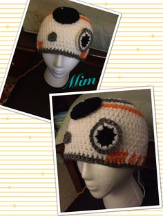 Star Wars Inspired BB-8 Droid. Adult size.  http://brettandhaley.blogspot.com/2015/11/bb-8-droid-crochet-hat-tutorial.html.  Video tutorial , thank you