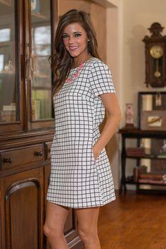 Plain As Day Dress, White-Black