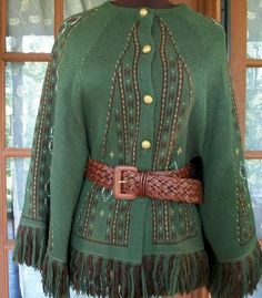1970s Green Knit Fringe Shawl Cape by thedepo on Etsy,