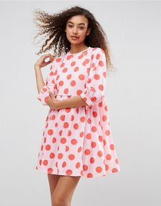 ASOS Polka Dot Smock Dress With Elastic Cuff Detail - Multi