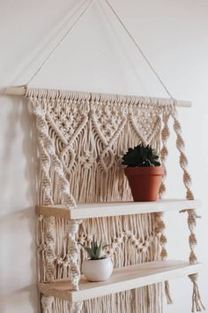 Your place to buy and sell all things handmade Wall Hanging Shelves, Macrame Wall Hanging Patterns, Large Macrame Wall Hanging, Shelf Wall, Wall Hanging Plant Pots, Macrame Wall Hanger, Plant Hangers, Macrame Patterns, Wooden Shelves