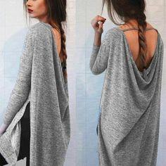 2016 Fashion Women Loose Side Split High Low Long T-shirt O neck Long Sleeve Backless Shirt Casual Solid Asymmetrical Tops Tee