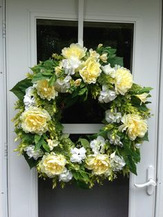 Yellow Peony & Freesia with White Hydrangea Wreath by julielaplant, $169.00