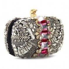 Stud and jewel embellished box clutch by Emilio Pucci