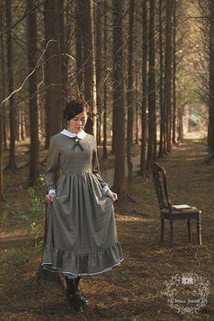 ●高級定制●簡愛—vintage複古風古典薄羊毛長裙格子連衣裙●-淘寶網