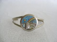 Silver rainbow and mountain bracelet/vintage by BohoRain on Etsy