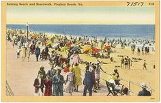 Bathing beach and boardwalk, Virginia Beach, VA. Virginia Beach Boardwalk, Boston Public Library, Norfolk, 2 In, Bathing, Bath, Bathroom