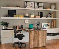 Modelos de Estantes para Quartos: Organização, Decoração, Fotos Decor, House Design, Family Room, Living Spaces, Home Decor, Home Office Design, Office Desk, Office, Office Design