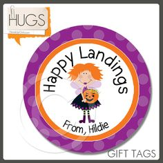 Personalized Halloween Happy Landings Gift Tags or Cupcake Toppers or Stickers by HeadsUpGirlsHolidays, $6.00