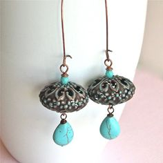 Copper Turquoise Earrings Patina Bohemian Long by mcstoneworks Friends my large pier one piece Copper Jewelry, Wire Jewelry, Jewelry Gifts, Beaded Jewelry, Jewelery, Small Earrings, Beaded Earrings, Flower Earrings, Earring Trends