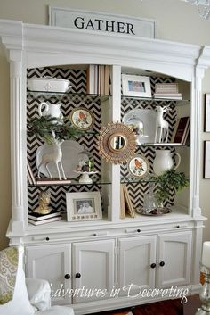 Show Me Decorating Show Me Decorating Vase Decoration Ideas Dining Room Decor how to decorate a dining room hutch Refurbished Furniture, Repurposed Furniture, Furniture Makeover, Painted Furniture, Dresser Makeovers, China Cabinet Redo, China Cabinet Display, China Cabinets, Repurposed China Cabinet