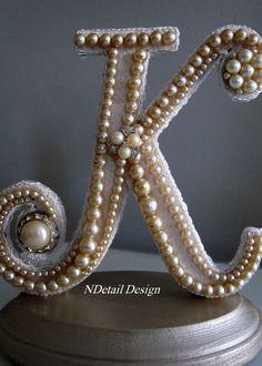 "Monogrammed Custom Vintage Pearl Wedding Cake Topper & Display: Antique Bridal Accessories ""417 Bride""."