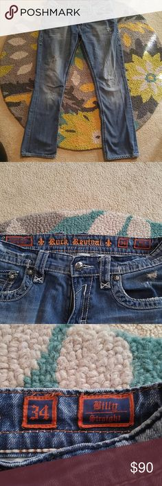 "Rock Revival Billy Straight Men's Jeans This is a gently worn pair of Men's Rock Revival Billy Straight jeans. They are in super condition and have a distressed look. All in tsct and in working order! These jeans are amazing! Waist to hem is 43"", and inseam is 34"". Rise is apx. 10.5. Rock Revival Jeans Straight"