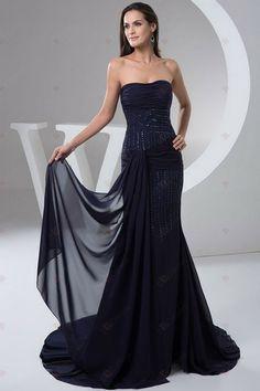 Nouveau Design Sirène plissée et des paillettes ceintures Avec Trailing robes de soirée