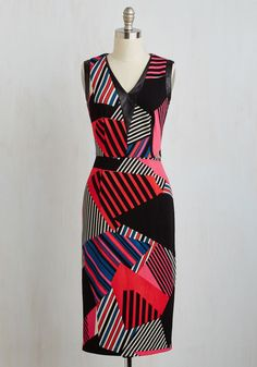 Originality is Key Dress. Represent your inventive outlook in this stunning sheath dress! #multi #modcloth