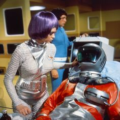 UFO - TV series - 1969 - 2nd version of alien spacesuit, with a black collar, silver vinyl, and revised helmet - slightly more chinney, and thicker non flush visor