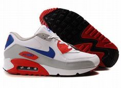 competitive price fd154 1020e Nike Air Max 90 White Grey Red Blue