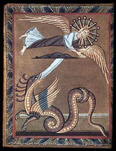 Bamberg Apocalypse: Angel and the Serpent Ottonian 11th Century Staatsbibliothek Bamberg, Ms. Bibl. 140