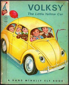 Volksy, The Little Yellow Car, vintage children's picture book. Rand McNaly Elf Book.