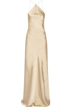 Calvin Klein Collection   Satin halterneck gown   NET-A-PORTER.COM