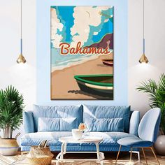Vintage Bahamas Poster Multi Panel Canvas Wall Art | ElephantStock Print Artist, Artist Painting, Canvas Frame, Canvas Wall Art, Canvas Art Prints, Framed Prints, Alternative Artists, Artist Bedroom, Daddy Birthday
