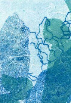 Blue original fine art hand pulled print by lottieanderson, $35.00