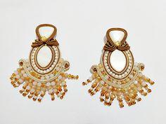 Soutache earrings white shell  mother pearls by mysweetcrochet, $121.00