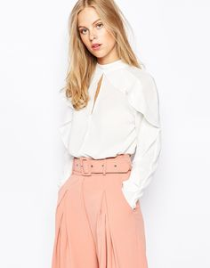 Image 1 of Lost Iink High Neck Cape Detail Blouse