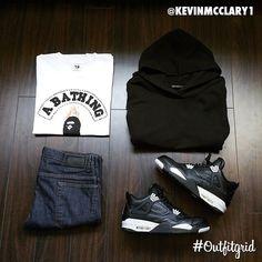 Outfit grid - Black hoodie style
