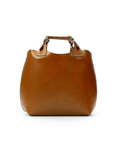 Zara tan leather shopper