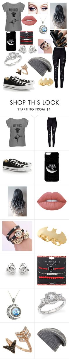 """Untitled #67"" by life-sucks4664 ❤ liked on Polyvore featuring WithChic, Converse, Lime Crime, Noir, Georgini, Bloomingdale's, Bee Goddess and BCBGMAXAZRIA"
