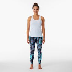 """Turquoise Boho Feathers Pattern"" Leggings by HavenDesign | Redbubble Skins Leggings, Blue Leggings, Printed Leggings, Ladies Leggings, Floral Leggings, Designer Leggings, Blue And Silver, Pink Blue, Silver Color"
