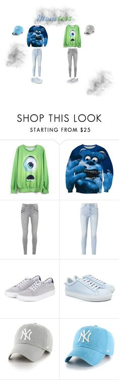 """Monsters"" by viki-pokorna ❤ liked on Polyvore featuring WithChic, Frame, Barbour, Givenchy and '47 Brand"