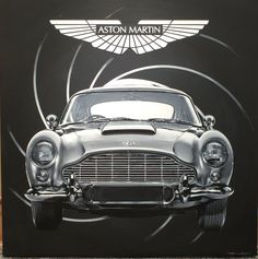 Handpainted acrylic on canvas 94 cm x 94 cm British Sports Cars, Vintage Sports Cars, Classic Sports Cars, Vintage Cars, James Bond Cars, James Bond Style, James Bond Movies, Classic European Cars, American Classic Cars