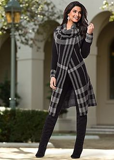 Plaid Sweater Cardigan from VENUS women's swimwear and sexy clothing. Order Plaid Sweater Cardigan for women from the online catalog or Look Fashion, Fashion Beauty, Winter Fashion, Womens Fashion, Fashion Coat, Trendy Fashion, Street Fashion, Fashion Outfits, Fashion Weeks
