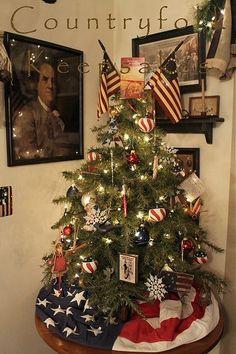 Primitive Country Christmas, Country Christmas Trees, Prim Christmas, Outdoor Christmas, White Christmas, Primitive Crafts, Primitive Snowmen, Christmas 2016, Christmas Tree Usa