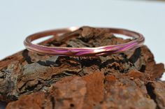 Pretty in Pink Diamond Cut Bangle, Copper Bracelet, Copper Jewelry, Hand Polished Bangle, Hand Waxed Bangle, Unisex Jewelry, Patina Jewelry by CreationsBydeNice on Etsy