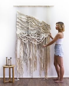 CROSSING THREADS, Lauren and Kass Hernandez, weaving, tapestry, woven Sisters create beautiful works of art for the wall. This link works! Weaving Textiles, Weaving Art, Tapestry Weaving, Loom Weaving, Hand Weaving, Weaving Wall Hanging, Hanging Art, Wall Hangings, Textile Fiber Art