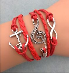 DIY Red Music Set Bracelet,shop cheap fashion jewelry at www.favorwe.com