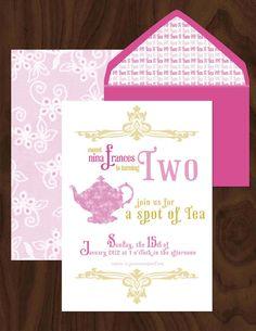 Tea Party Birthday Invitation Set